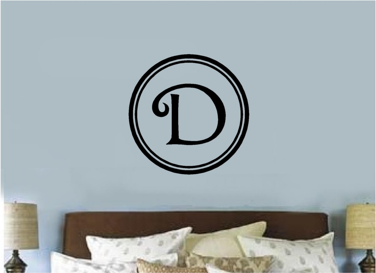 Custom monogram letter vinyl decal sticker letter wall for Custom wall letter stickers