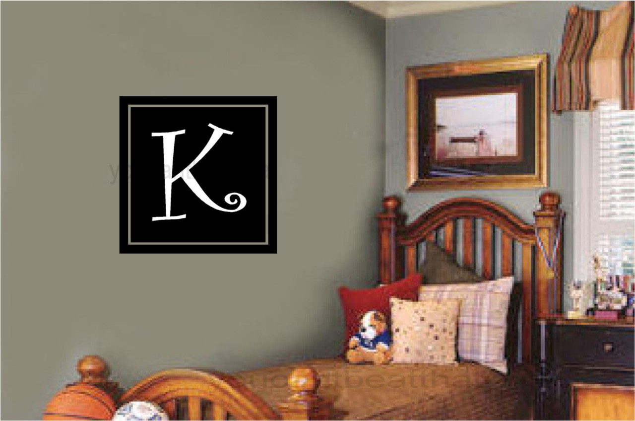 monogram vinyl word wall decal teen room dorm decor ebay. Black Bedroom Furniture Sets. Home Design Ideas