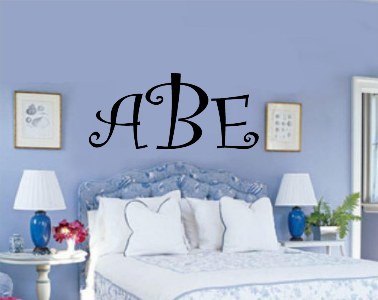Custom initial monogram vinyl decal sticker wall letter ebay for Custom wall letter stickers