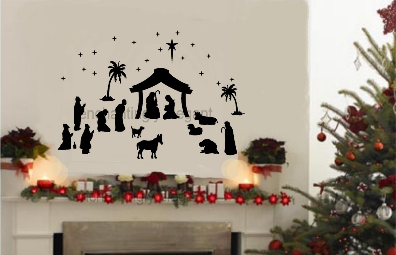 36 piece large nativity set vinyl decal wall stickers ForChristmas Wall Mural Plastic