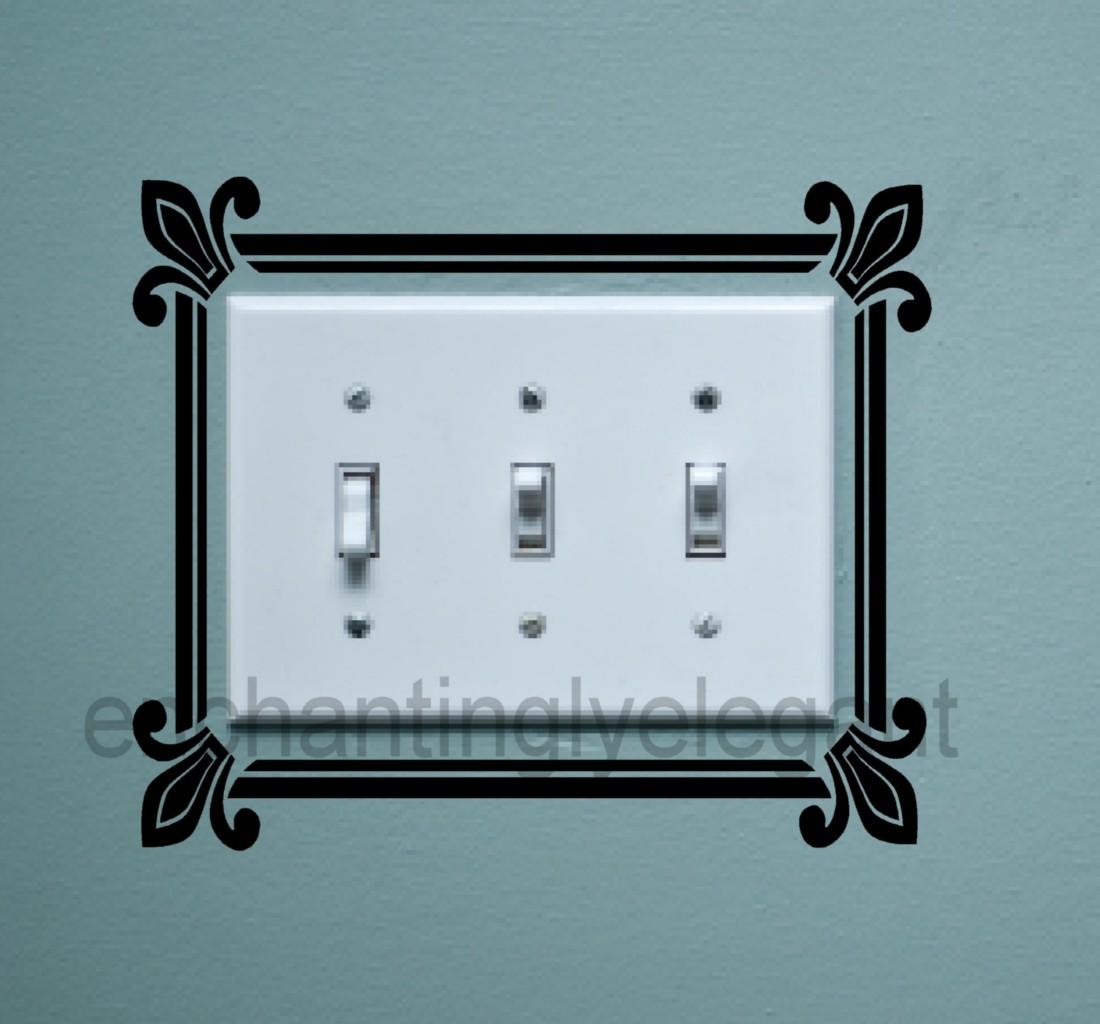 Light Switch Scroll Fleur de Lis Vinyl Decal Stickers Wall Art