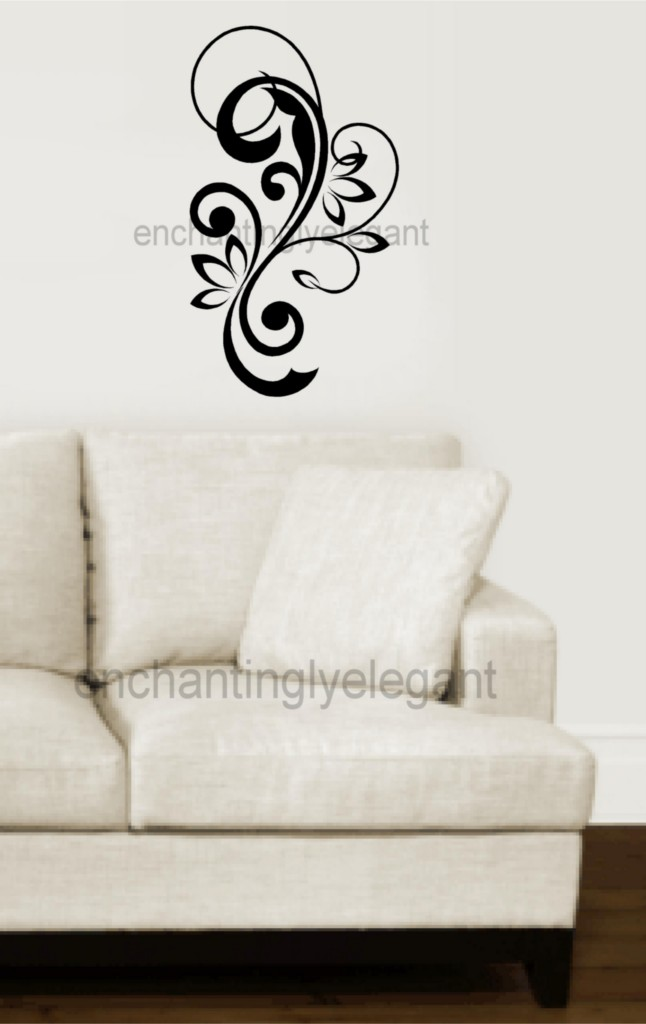 Scroll embellishments swirl vinyl decal wall stickers room for Room decor embellishment art