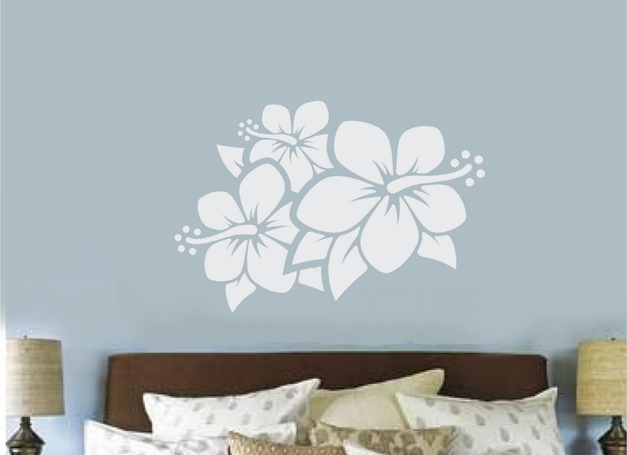 Hibiscus flower vinyl decal wall sticker teen bedroom for Bedroom wall decals