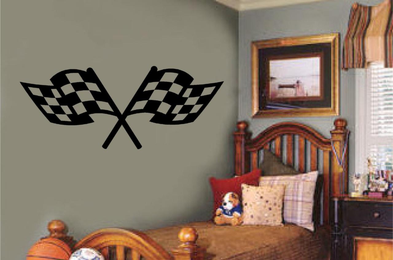 Checkered Racing Flags Vinyl Decal Wall Sticker Teen Boy