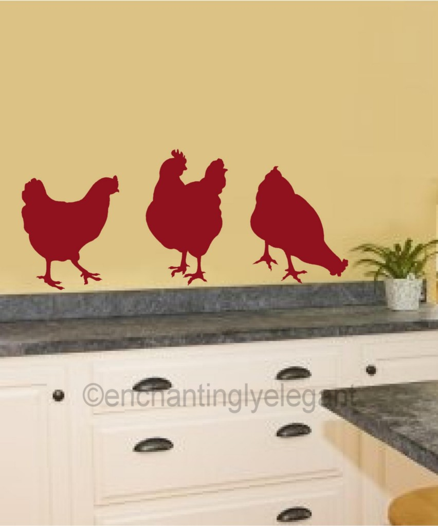 Garden Themed Kitchen Decor: Chickens Vinyl Decal Wall Stickers Garden Farm Theme
