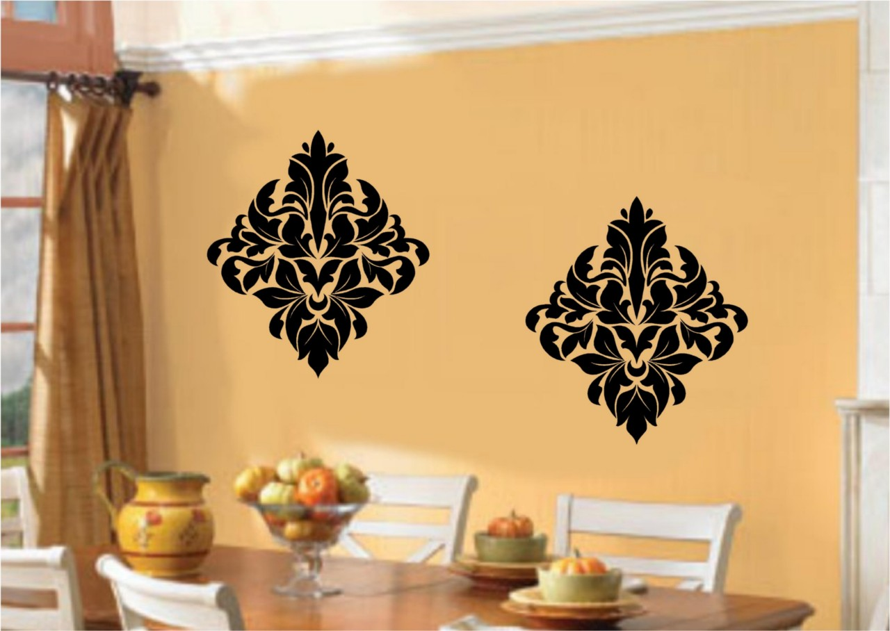 Damask embellishments vinyl decal wall sticker art dining for Dining room wall art stickers