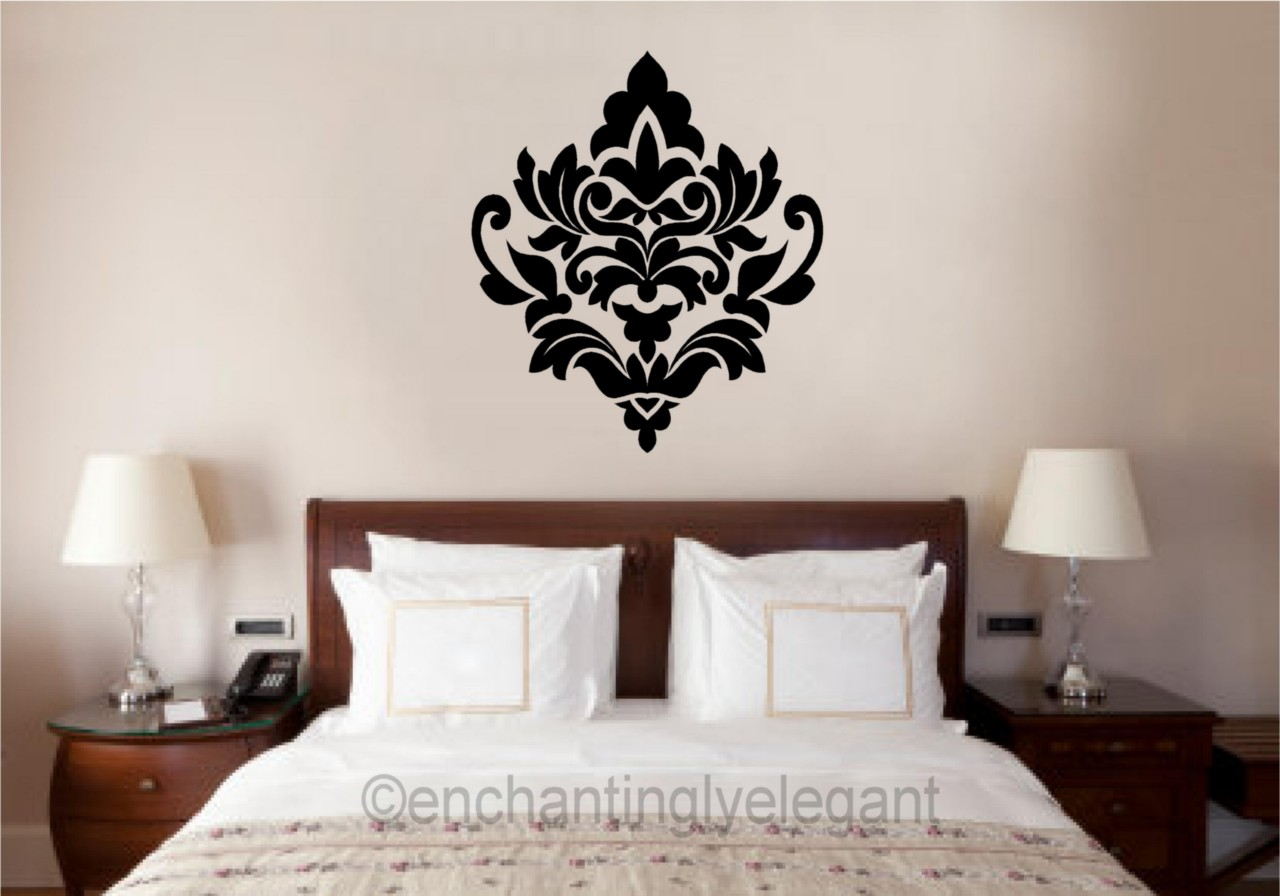 Damask embellishment vinyl decal wall sticker master for Master bedroom wall decor