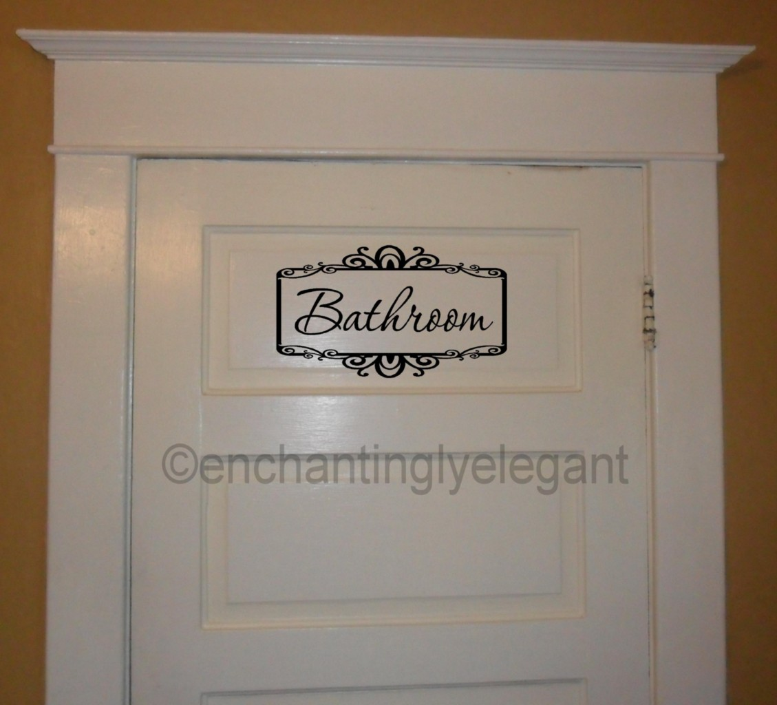 Bathroom Lettering Decor : Bathroom w scroll border vinyl decal wall sticker words