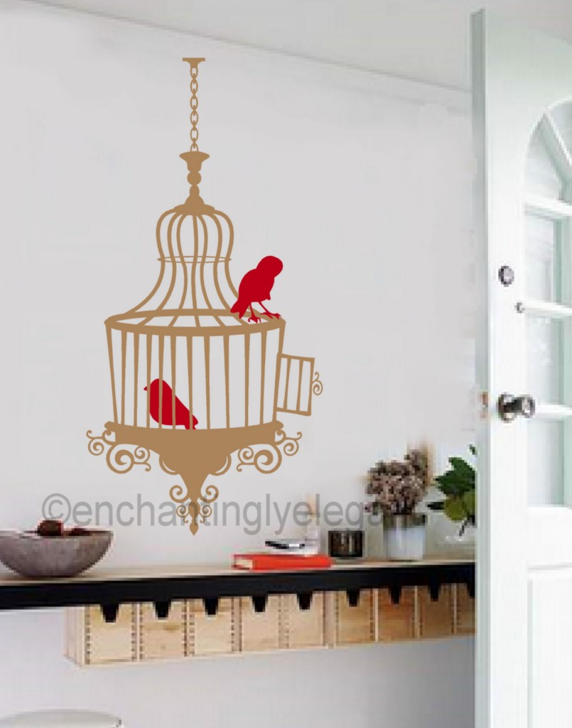 Birds And Cage Vinyl Decal Wall Sticker Bedroom Living