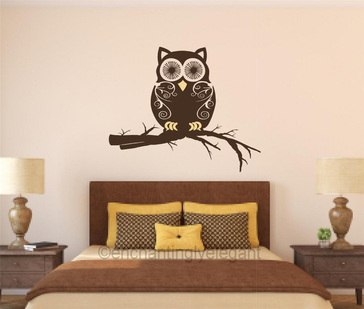 owl on branch vinyl decal wall sticker mural nursery teen room bathroom decor ebay. Black Bedroom Furniture Sets. Home Design Ideas