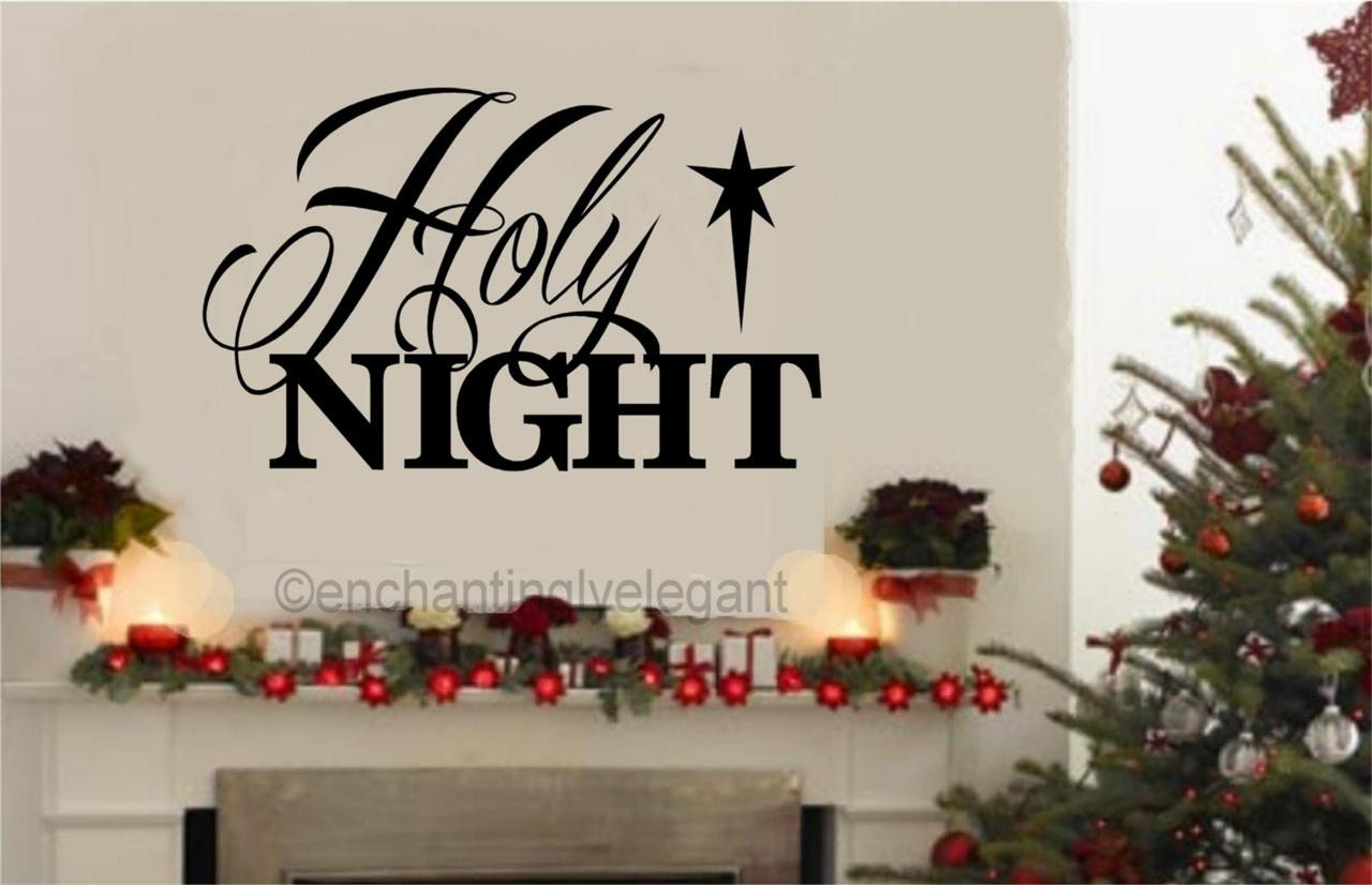 Religious Christmas Wall Decor : Holy night vinyl decal wall sticker words letters