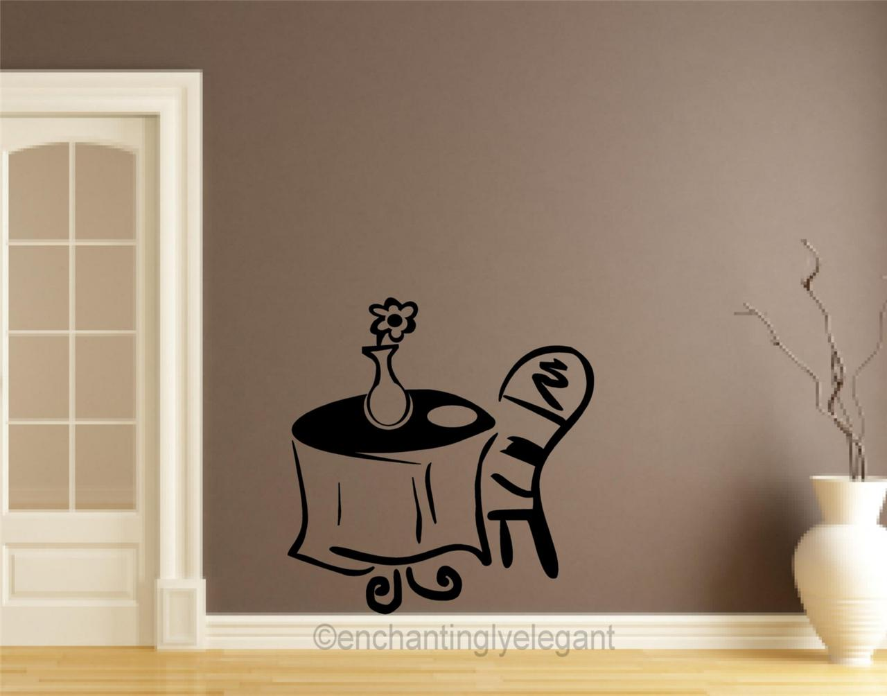 Cafe table vinyl decal wall sticker decor teen room coffee for Mural coffee