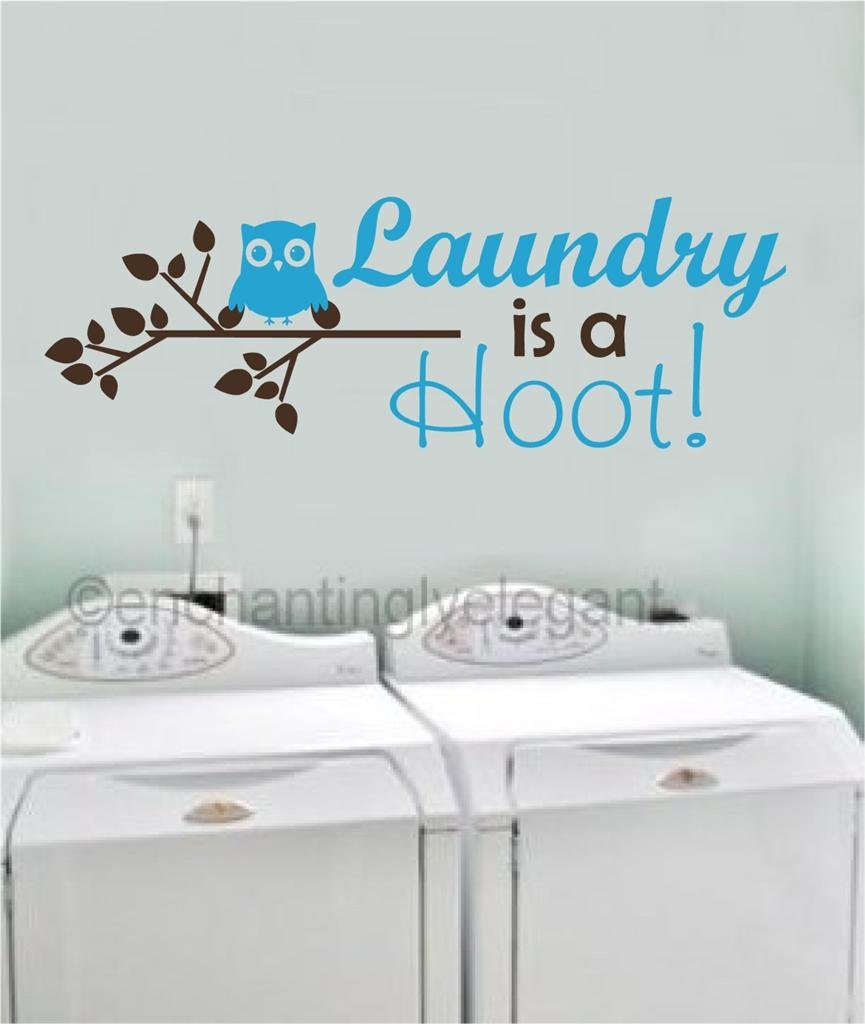 Laundry Room Wall Decor Stickers : Laundry is a hoot vinyl decal wall sticker words lettering
