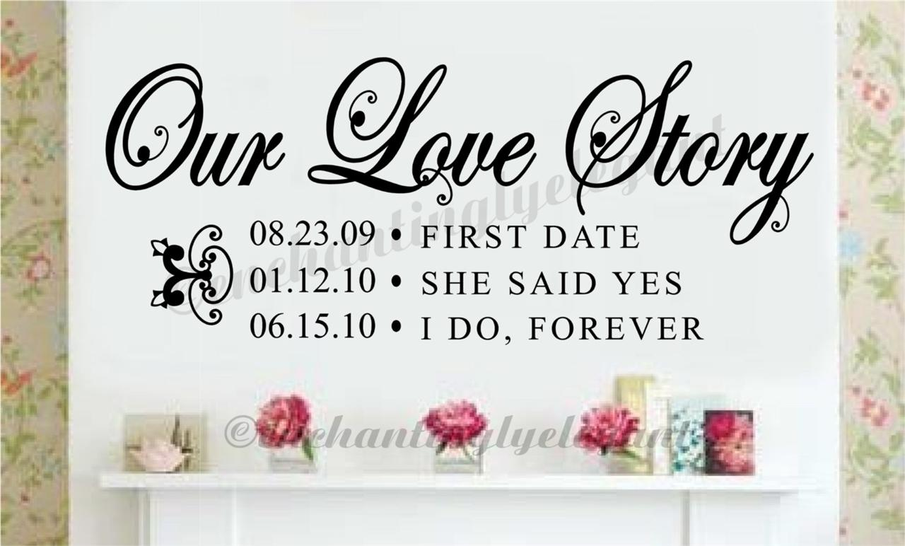 Details about Our Love Story With Your Custom Dates Wedding Gift Vinyl ...