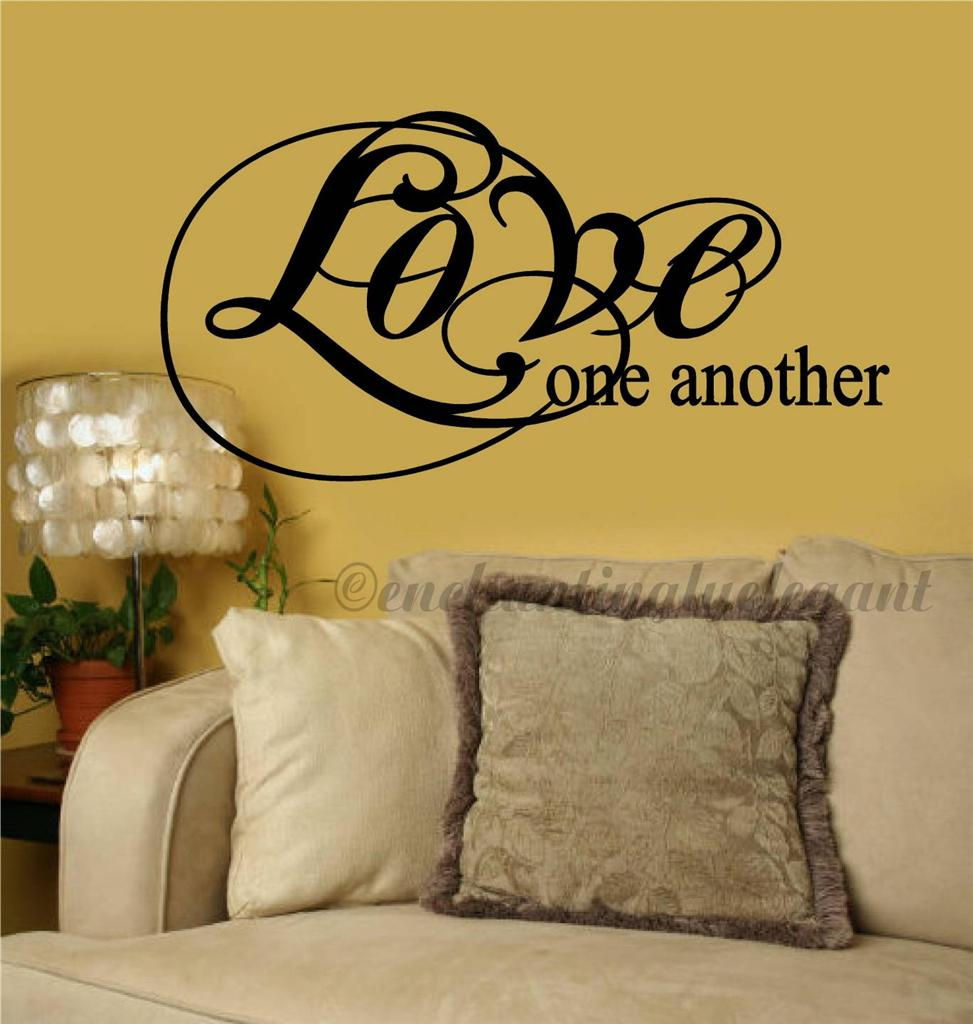 Love one another christian religious vinyl decor wall for Another word for decoration