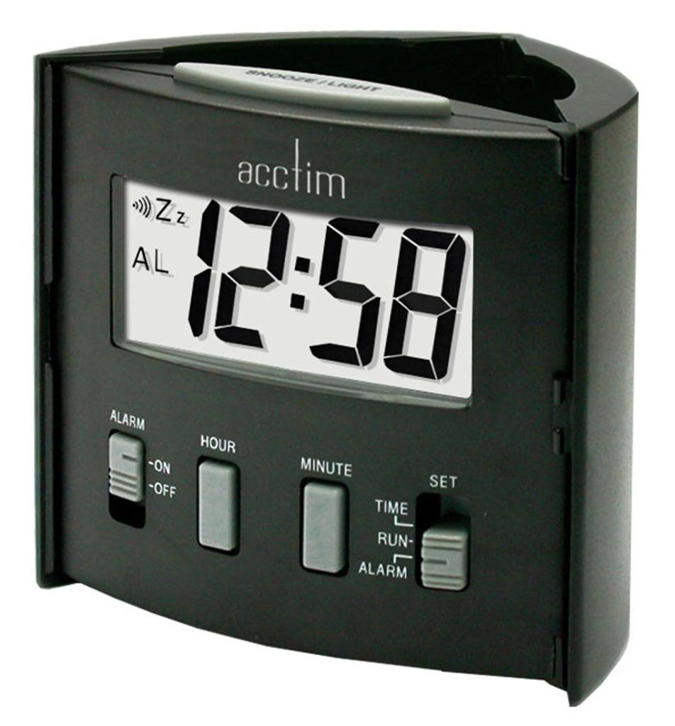 new travel mate digital light weight folding travelling alarm clock black ebay. Black Bedroom Furniture Sets. Home Design Ideas