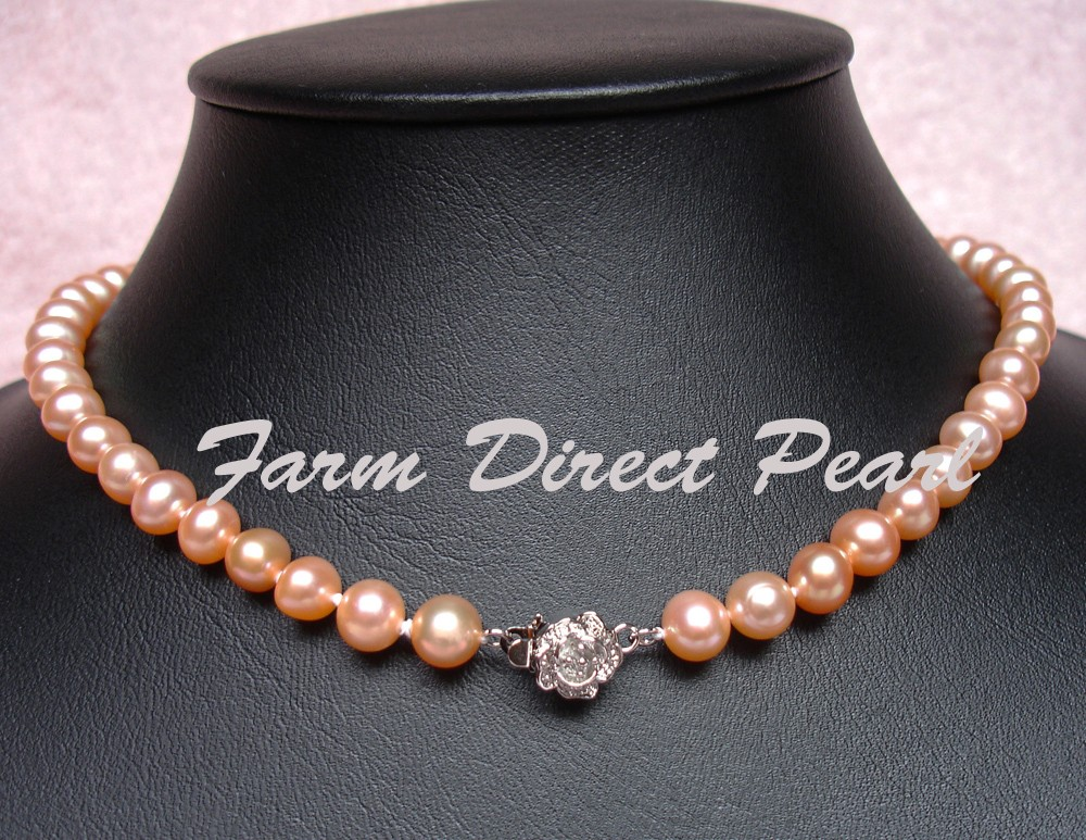 Genuine-ROUND-8-9mm-Peach-Pearl-Strand-Necklace-Cultured-Freshwater