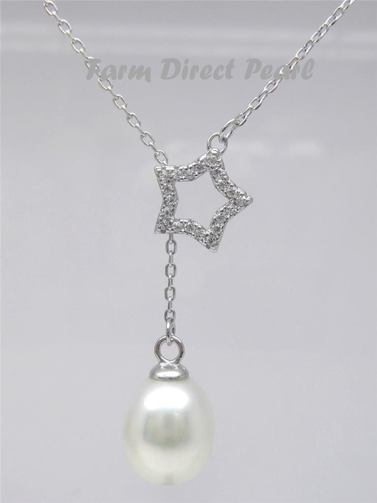 925 Sterling Silver Star Lariat White Pearl Pendant