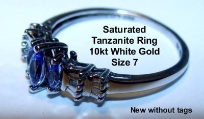 Stone Tanzanite Diamond Ring~10kt White Gold~Prong Set~Sz 7~.27ctw