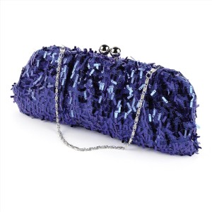 Details about Cobalt Blue Meshy Sequinned Evening Clutch Bag with ...