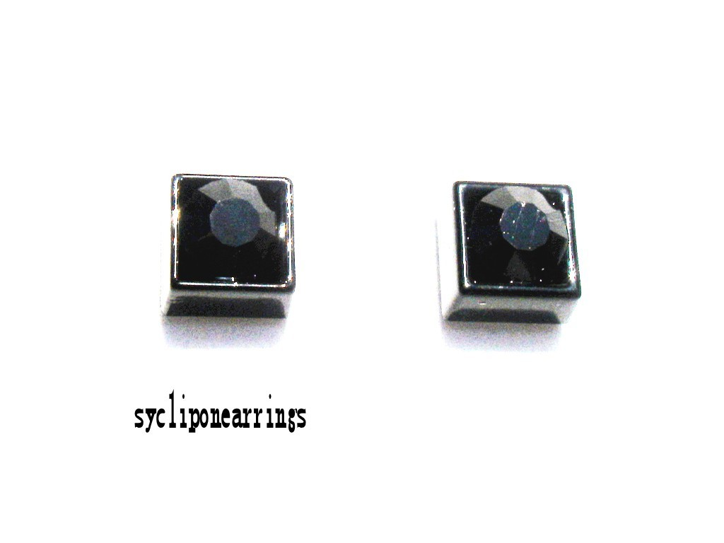 6 8mm black clear square diamonte clip on magnetic