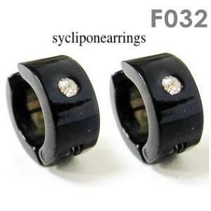 Stainless steel lady men's clip on non-pierced earrings black silvertone comfy