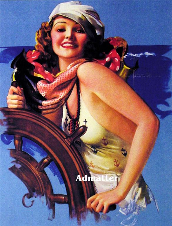Patriotic Pin-up Girl Navy Sailor Rolf Armstrong Art