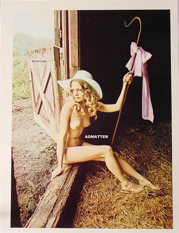 Vintage Nude pinup poster print Topless Farm girl naked | eBay