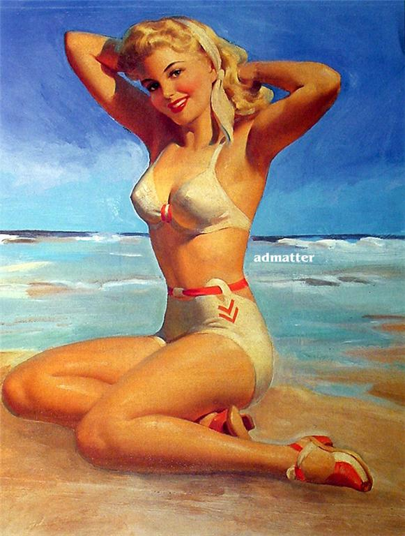 art frahm pin up girl poster sexy blonde at ocean beach hot bikini pinup print ebay. Black Bedroom Furniture Sets. Home Design Ideas