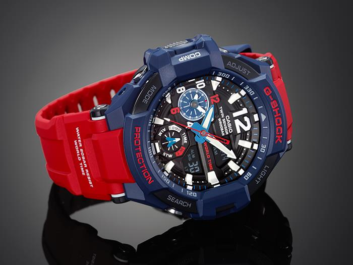 Casio Gshock Gravitymaster Aviation Red Blue Wr200m Watch