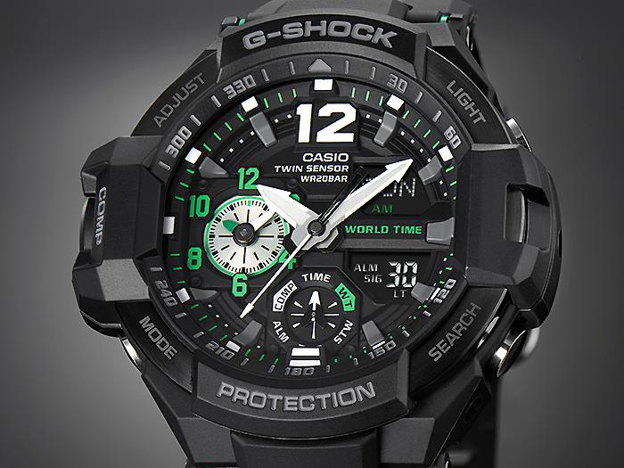 Casio Gshock Gravitymaster Aviation Black Green Wr200m