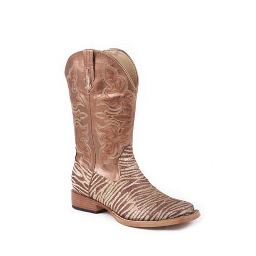 09-021-1901-0060-Roper-Ladies-Square-Toe-Boots-w-Zebra-Bling-Brown-NEW-in-BOX