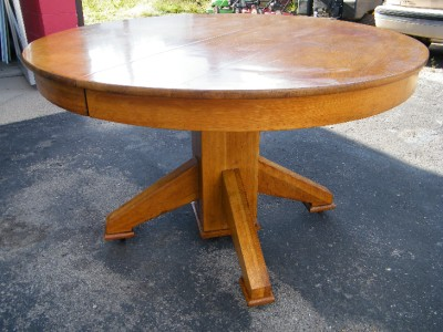 Stickley era 48 round mission oak dining table leaf ebay for 48 dining table with leaf