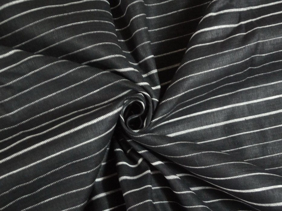 Black Linen Fabric With Thin White Stripes 54