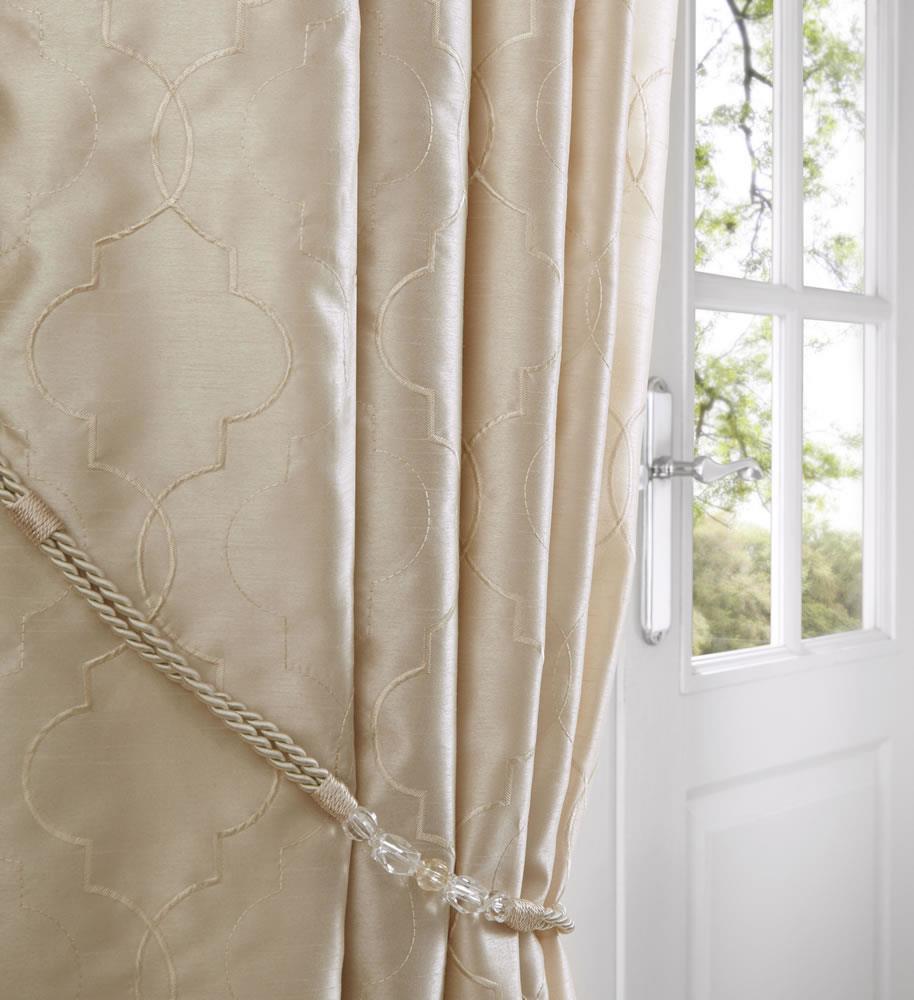 Silk Taffeta Fabric Cream Embroidery 54 Wide