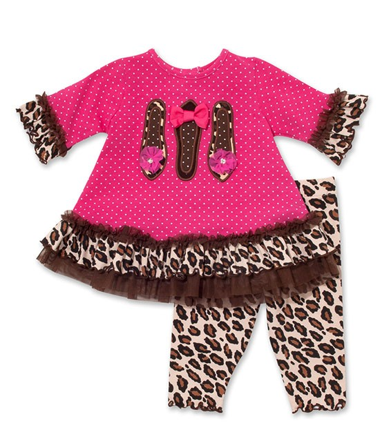 Peaches n Cream Leopard Chic Shoes Pink Leggings set BABY