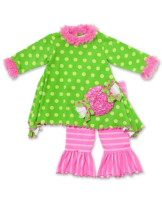 Peaches n Cream Lime Pink CANDY Holiday Pant set Girls 4-6x