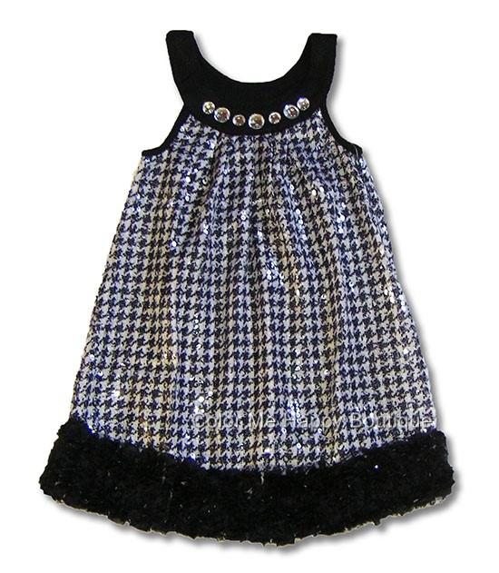 Lipstik Black White Sparkle Houndstooth Party Dress Girls 4-6x