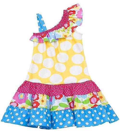 Rare Editions Dots Flowers Yellow Blue Pink 1-Shoulder Dress TODDLER Girls 2T-4T