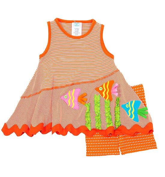 Peaches n Cream Orange FISH Knit Short set BABY Girls 12m