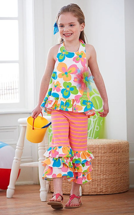 Peaches n Cream Flamingo Road Flower Halter Capri set BABY
