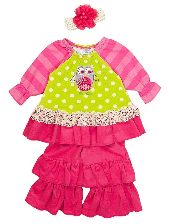 New Baby Girls Boutique Peaches n Cream sz 12m Pink Lime