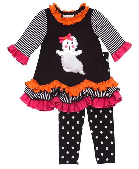 Rare Editions GHOST Ruffle Dotted Leggings Halloween set TODDLER Girls 2T-4T - Color Me Happy ...