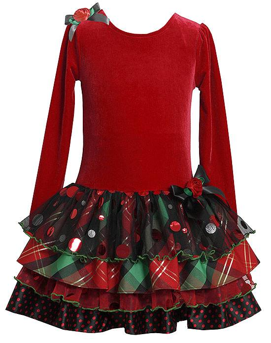 Bonnie jean sz 6 red plaid ruffle christmas dress holiday pageant 58
