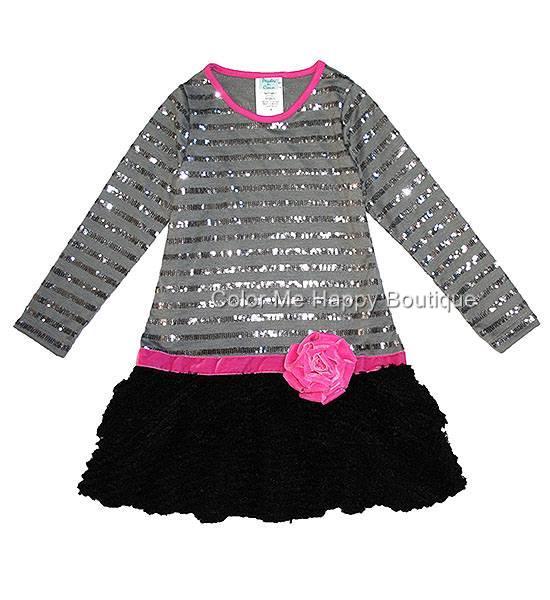 Peaches n Cream Grey Black Sequin Stripe Drop Waist Dress Girls 7-14