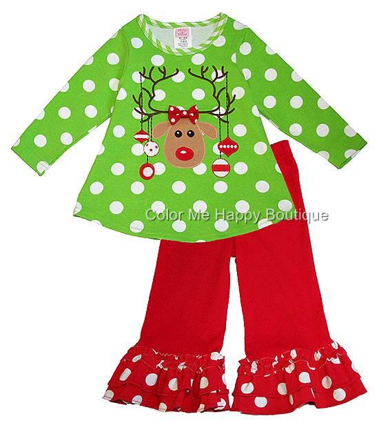 Boutique peaches n cream 3t lime red reindeer christmas dress outfit