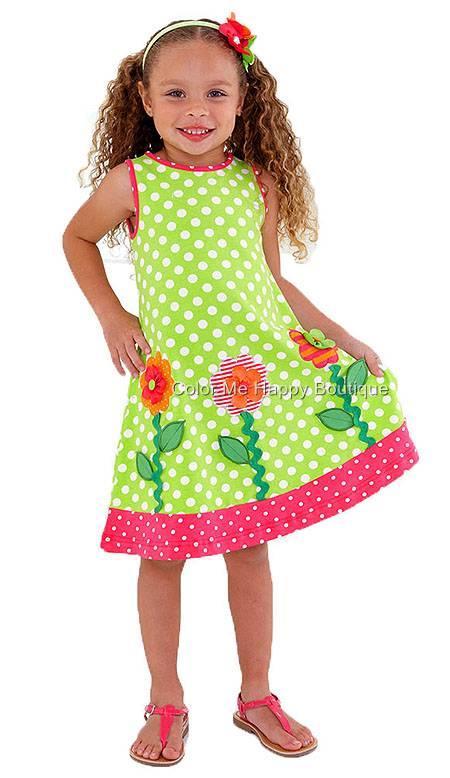 Peaches n Cream Extravagarden Lime Dot FLOWER Knit Dress