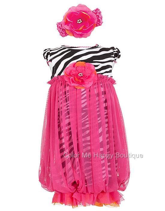 Peaches n Cream Zebra Pink Mesh Gown Headband set Newborn