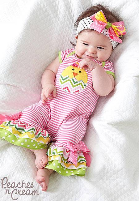 Peaches n Cream Pink Lime Yellow CHICK Romper & Headband ...
