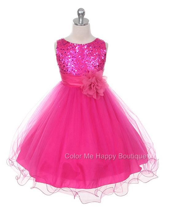 Sequin Bodice Mesh Skirt Flower Sleeveless Dress Fuchsia Pink Girls 2-14